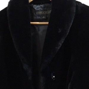 Black faux fur mid length evening jacket